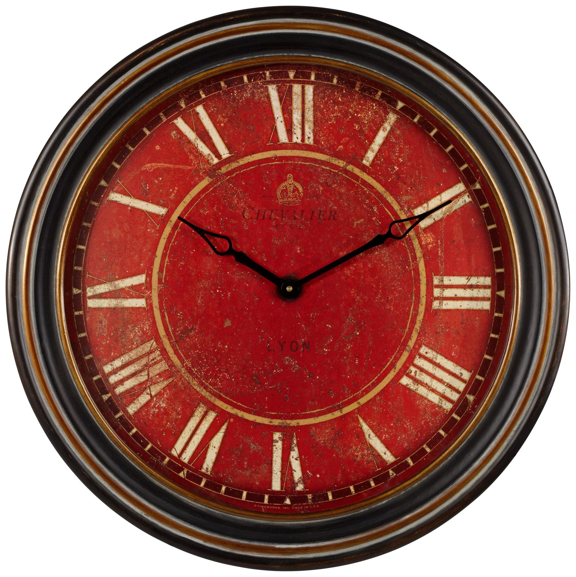 Uttermost Chevalier 27 1 2 Wide Antique Red Wall Clock Style V6222