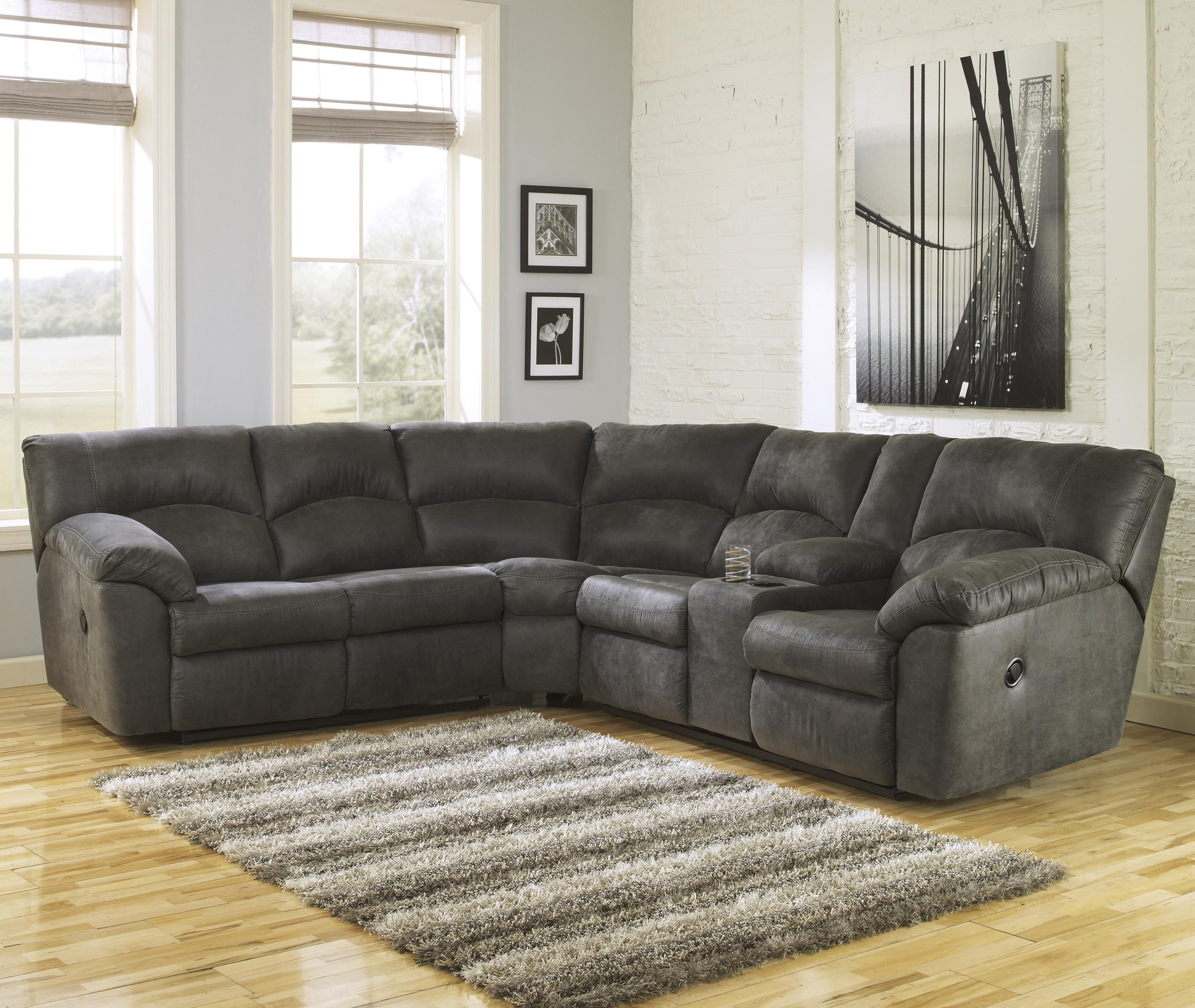 Living room furniture cordoba 2 pc sectional - Tambo Pewter 2 Piece Reclining Corner Sectional With Center Console By Signature Design By Ashley