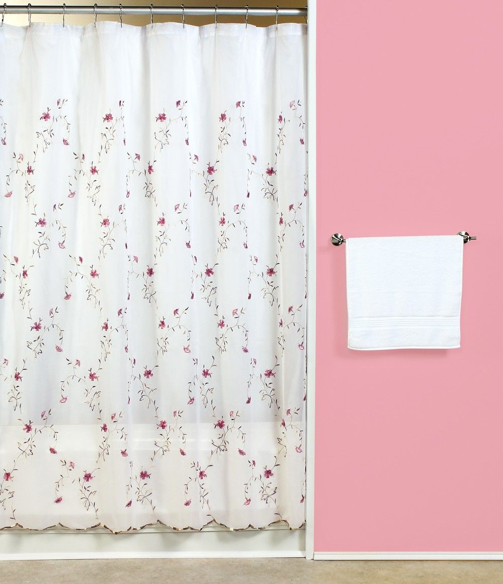 Curtain u bath outlet loretta embroidered violet fabric shower