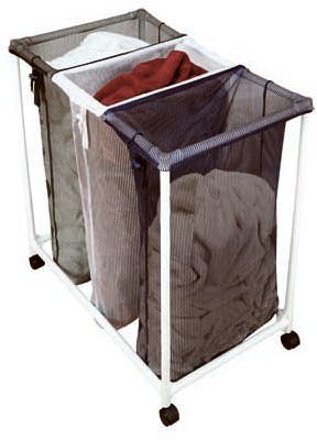 Pro Mart Triple Laundry Sorter Rolling With Pvc Frame And Mesh