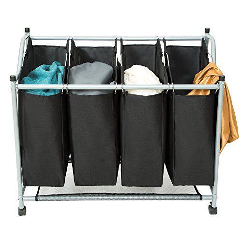 Tectake 4 Bag Laundry Sorter Cart Hamper Rolling Organizer Clothes