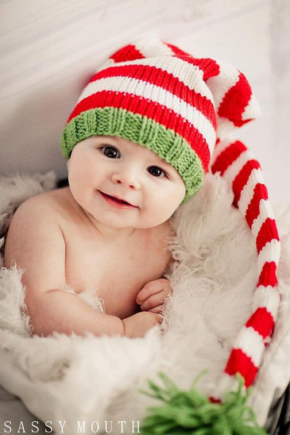 Knit Baby Hat, Christmas Long Stocking Cap Elf Newborn, Knitted Infant  Photo Prop,