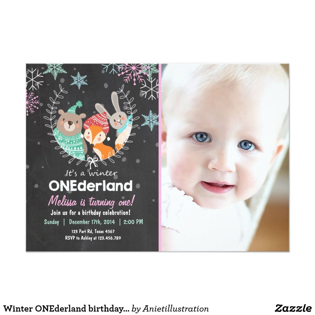 Winter ONEderland birthday party invitation | Winter onederland ...