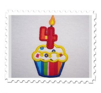 Fourth Applique Cupcake
