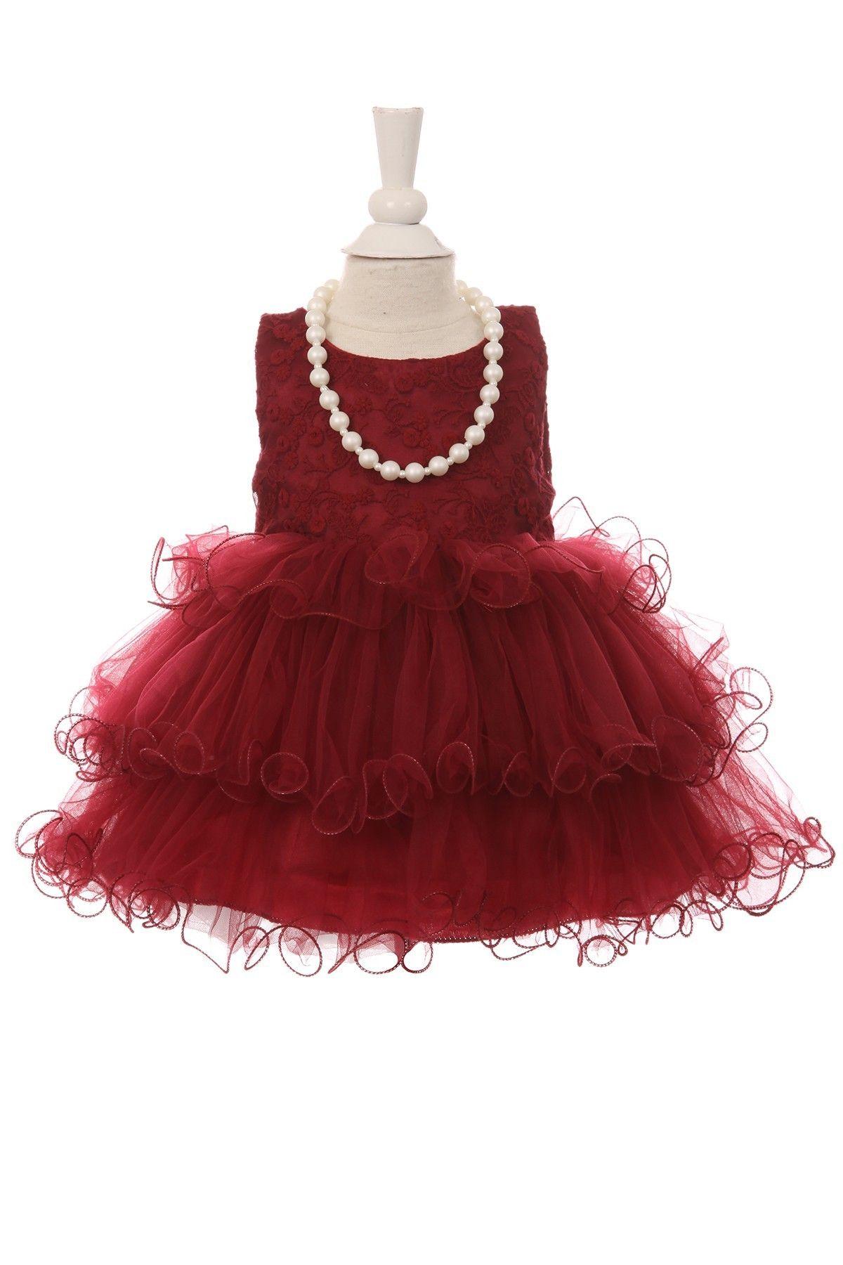 1991eca205ac Infant Christmas dress. Burgundy baby dress with beads and tutu skirt,  perfect selection for Christmas. #tutudresses #babydresses