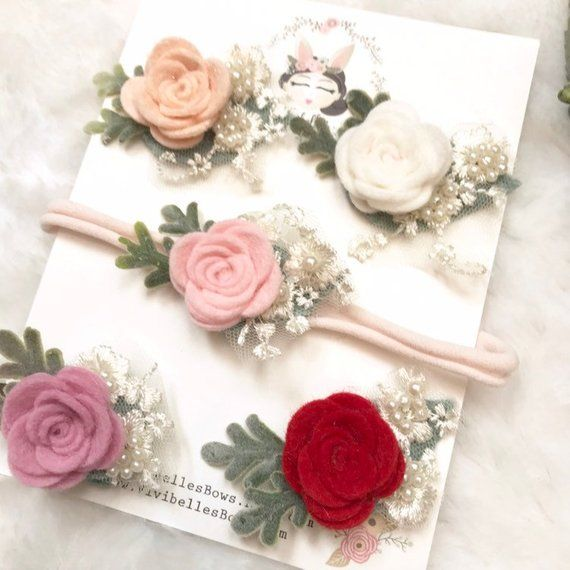 Mini rose headband, rose clips, Baby Headband , Baby Flower Headband, Baby Hair Accessories, Felt Headband, Rose Headband , Baby shower gift