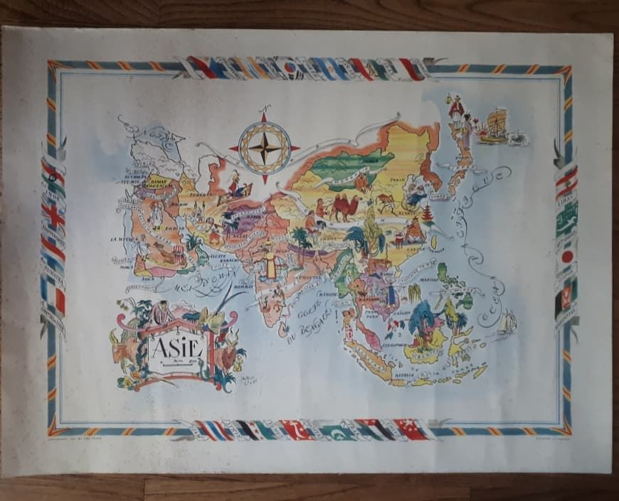 Map Of Asia Un.For Sale Map Of Asia Pictorial Cartoon Map Nice Colors Nice