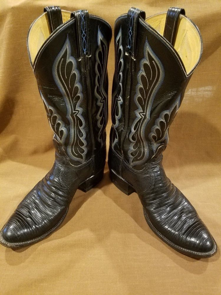 00fffaadc22 Tony Lama Black Lizard Pointed Toe Cowboy Boots Style #8539 Men's ...