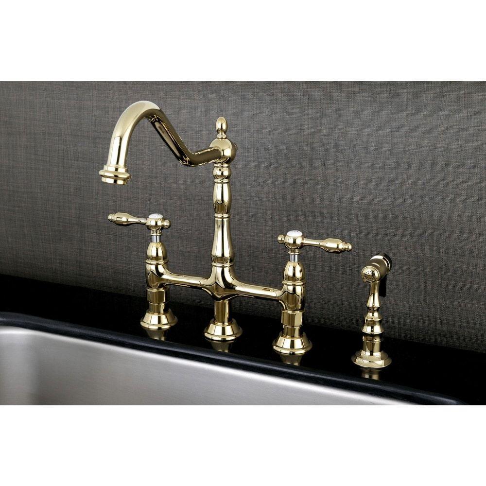 Victorian High Spout Lever-Handles Bridge Kitchen Faucet with Side ...