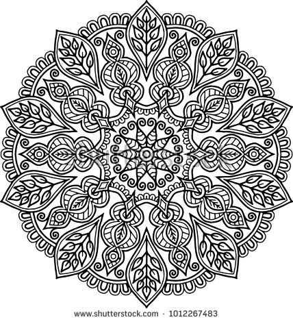 Blumenel Knüpfen figure mandala for coloring mood coloring pages