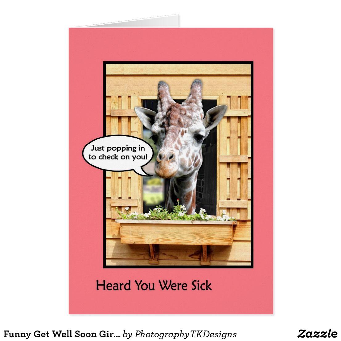 Funny Get Well Soon Giraffe Through Window Card Window Cards And