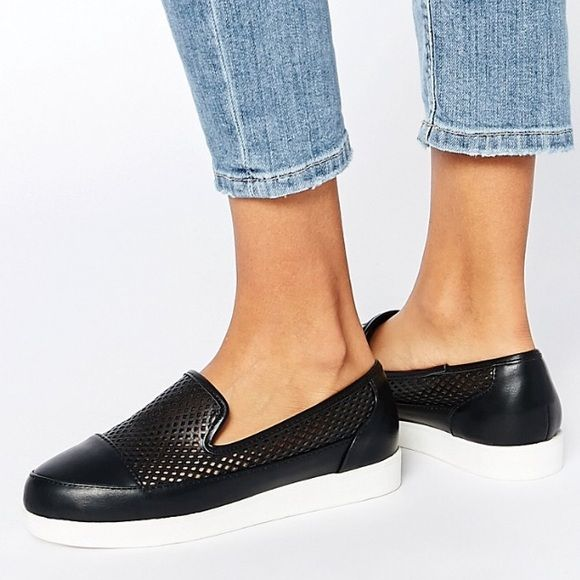 Asos Plimsolls Slip on Plimsolls by Asos  * Leather-look upper * Slip-on design * Mesh-look panel * Round toe * 100% Polyurethane upper  Worn only twice. I love them, they're just too small. UK 7 fits US 9. ASOS Shoes Flats & Loafers