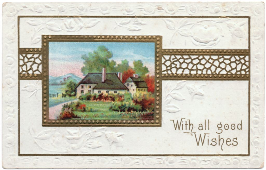 Vintage embossed greeting postcard good wishes pub klc k
