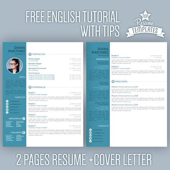 Formato De Resume Resume Template Cv Template For Word  Cover Letter Creative .