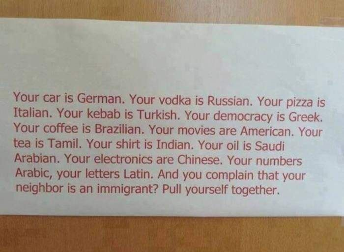 Put yourself together (Complaints about immigrants as seen in an ironic light)