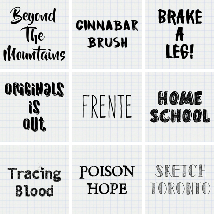 Some great fonts here! I am especially loving Beyond the Mountains and Frente.