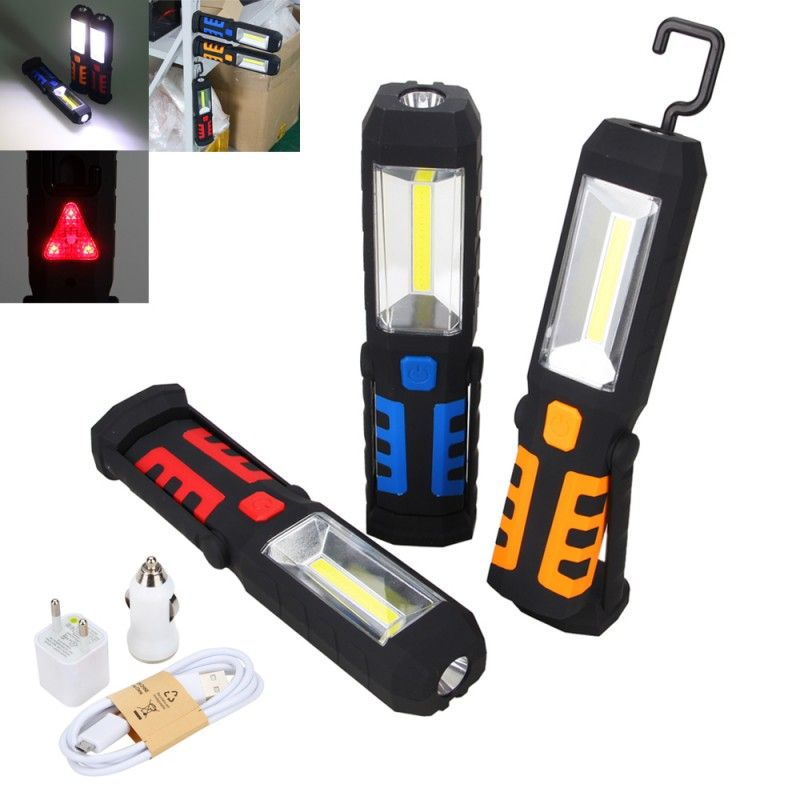 New Rechargeable Portable Cob Led Flashlight Work Light Magnetic 360 Degree Stand Hanging Flashlight Camping Hunting Work Lights Led Flashlight Led Work Light