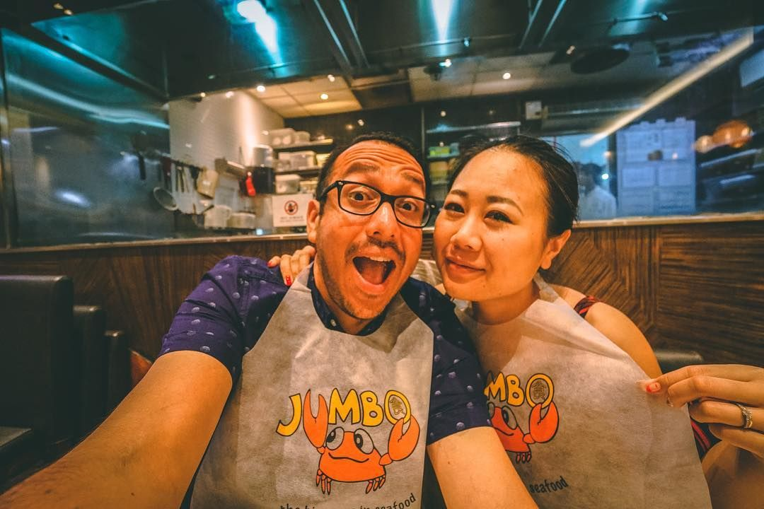 We are not crabby. - - - #singapore #asia #photooftheday #restaurant #streetstyle #photography #wanderlust #instapic #travel #traveler #wanderlust #vacation #instagood #couplegoals #singapur #foodgram #artist #a7rii #adventure #corazon #amor #instatravel #instapic #travelgram #amazing #instafood #foodie #crab #instagram