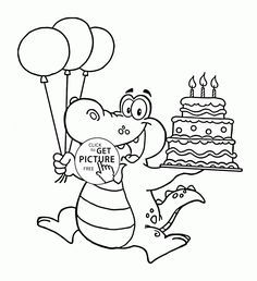 1st Birthday Coloring Pages Happy Alligator With Cake Page For Kids Holiday