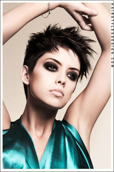 Short Hairstyles - Flirty Pixie Crop Hairdo. Very Messy and Layered!