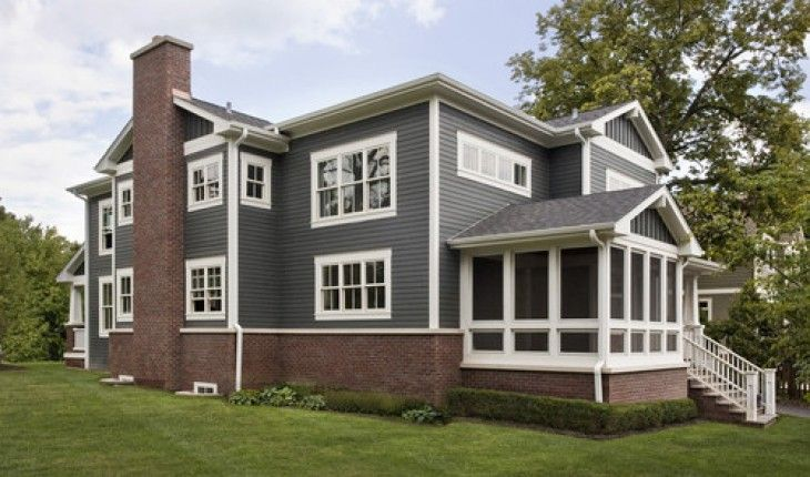 Colors Grey White Trim And Red Brick House Paint Exterior