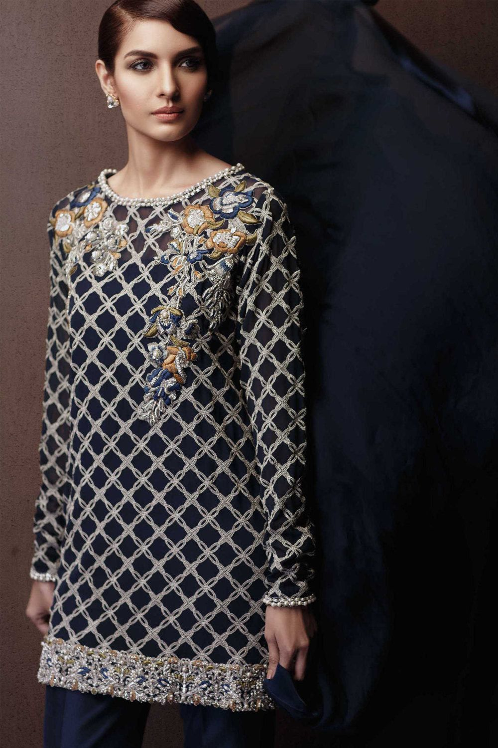 5881644f11d9 Pakistani Elan Crystal Festive Inspired Embroidered Shirt with ...