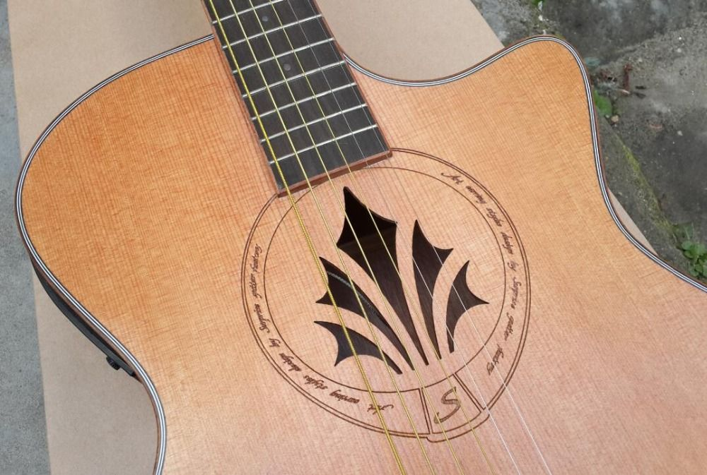 High Quality Personality Guitar Flower Soundhole Acoustic Guitar With Tuner Acoustic Guitar Guitar Guitar Building