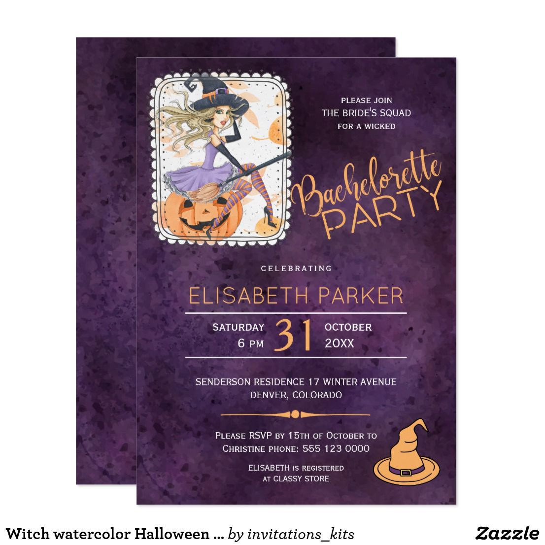 Witch watercolor Halloween bachelorette party Card   Witches