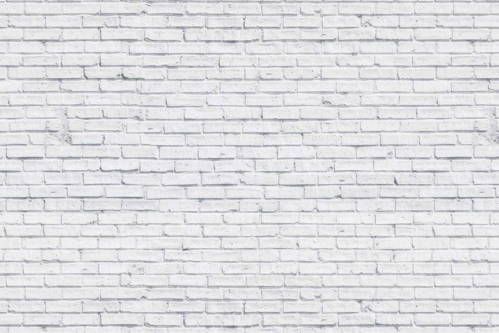 Clean White Brick Wallpaper Mural In