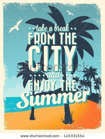 Retro Vintage Summer Poster Design With Typography Summer Poster Poster Design Typography Poster Design