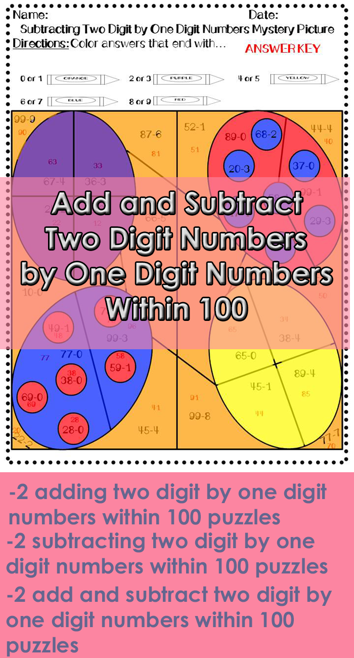 Easter Adding And Subtracting Two Digit By One Digit Number Mystery