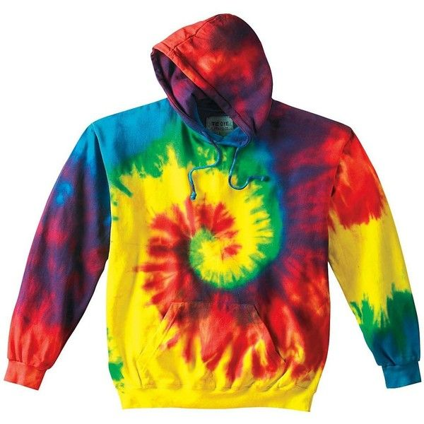 9d0a45eafce34e Rainbow Reactive Swirl Tie Dye Hoodie ❤ liked on Polyvore featuring tops