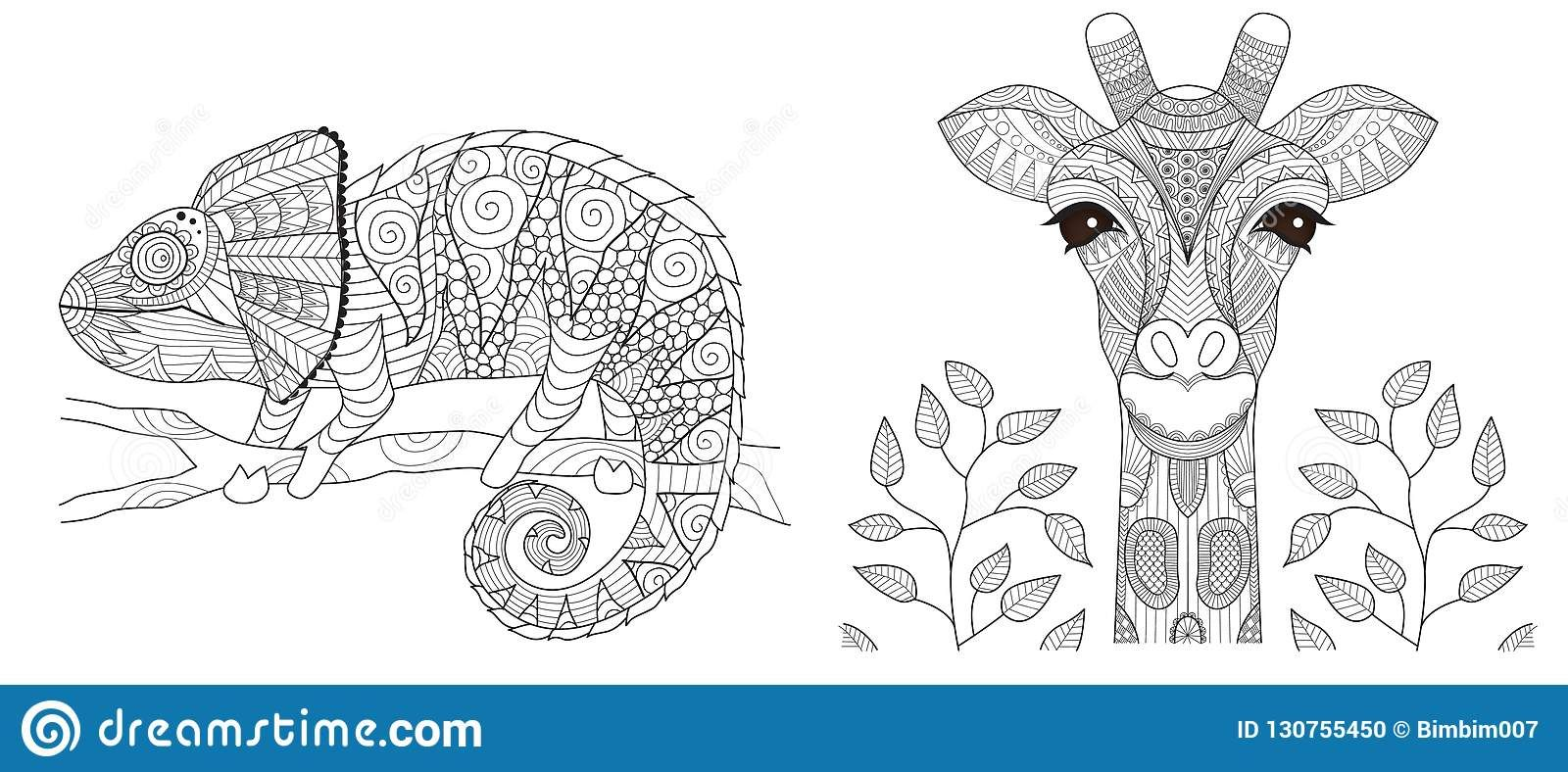 Illustration about Chameleon and giraffe set for coloring