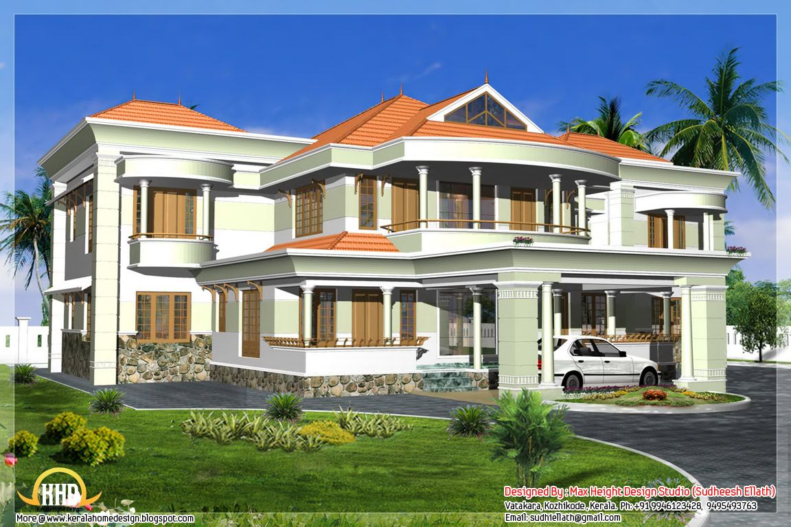 Indian Style 3d House Elevations Kerala House Design Luxury House Plans Small House Design