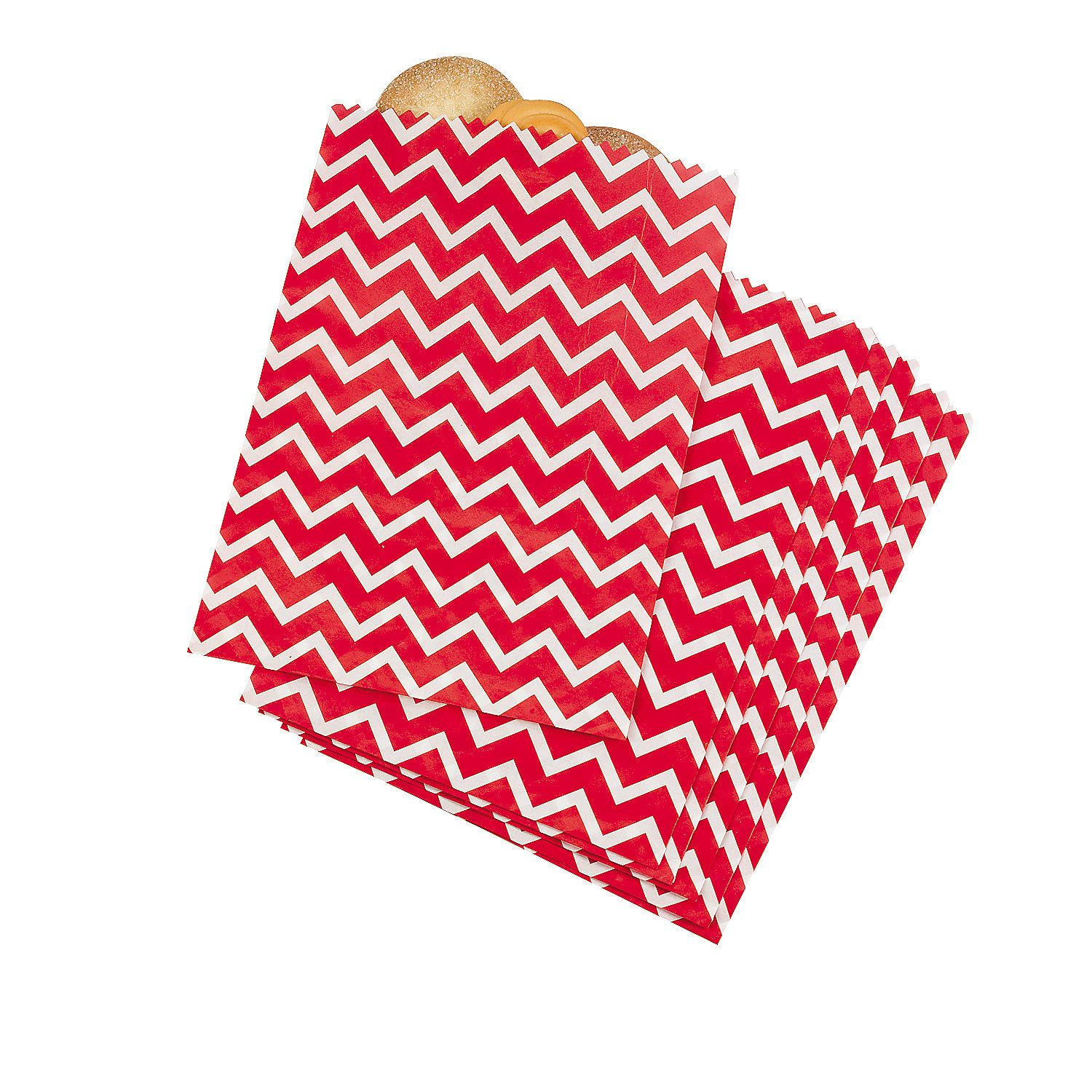 Red Chevron Treat Bags | Firefighter birthday, Baby shower foods and ...