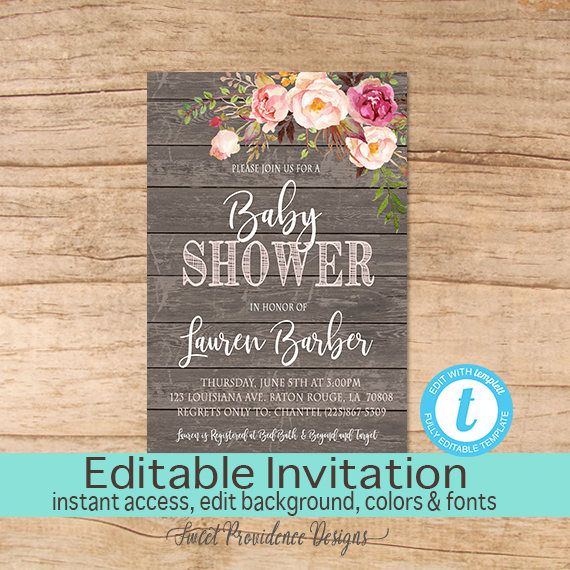 Rustic baby shower invitation pink floral wood background aubrey rustic baby shower invitation pink floral wood background stopboris Images
