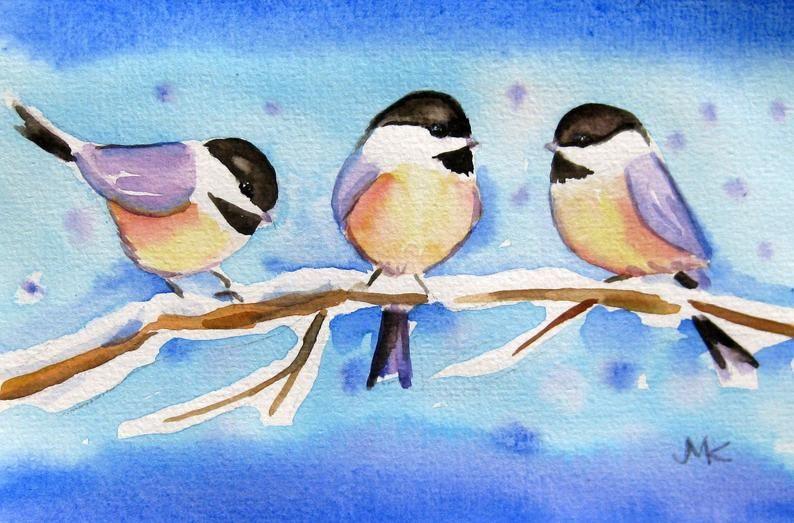 Les Mesanges Oiseaux Aquarelle Peinture Original Art 4 X 6