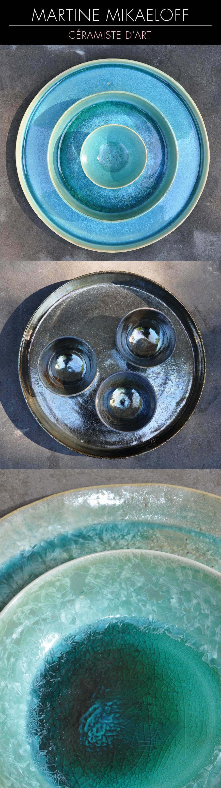 Créatrice de pièces en porcelaine, le travail de Martine Mikaeloff s'élabore à travers une recherche approfondie sur les émaux. Venez admirer ses créations au printemps prochain sur le salon Révélations. 1/Ensemble en porcelaine 2/Coupes sur grand plateau - Cuisson Raku 3/ Détail d'un ensemble porcelaine et grès, émaux de cristallisations © DR #céramique #ceramics #keramik #ceramica #ceramicart #handmade #creation #maker #contemporary #SalonRevelations #metiersdart #inspiration #porcelain