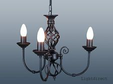 TRADITIONAL CLASSIC  BARLEY TWIST 3 ARM CEILING LIGHT FITTING CHANDELIER
