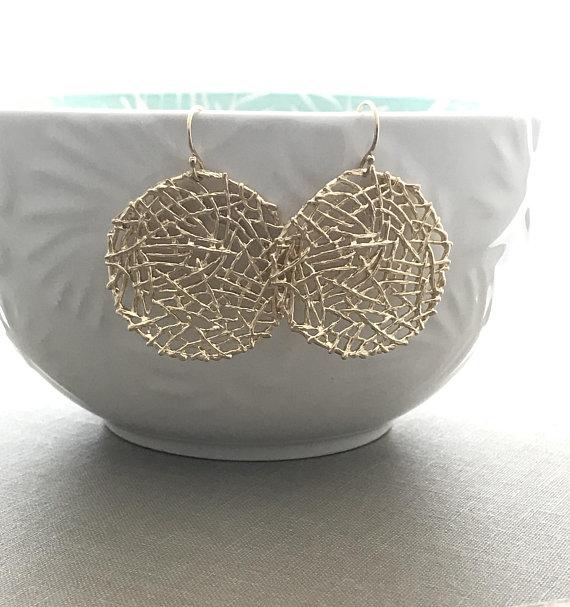 1e09db8c7 Golden Mesh Nest Earrings - Large circle dangle earrings - 14k gold filled  ear wires - Modern Bohemi