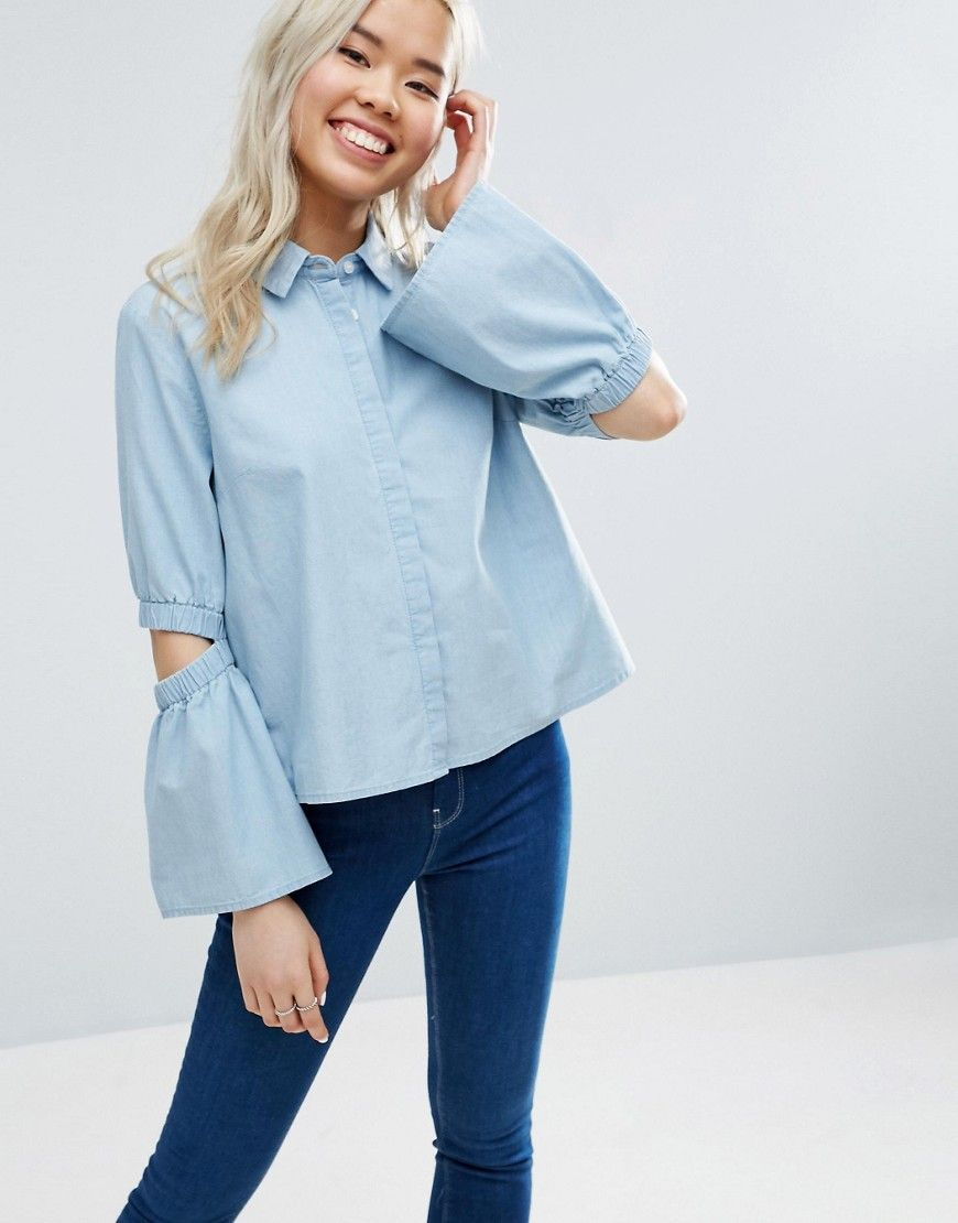 Asos denim shirt with flared sleeve and cold elbow blue products
