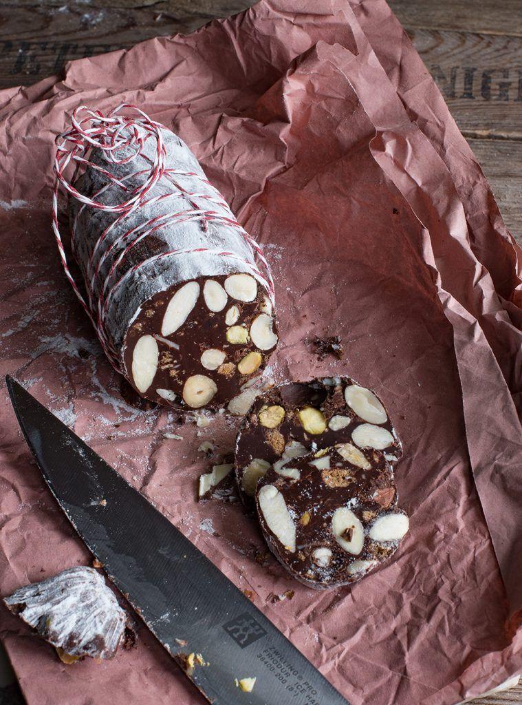 Rezept für Italienische Schokoladen-Salami - Salame di Cioccolato