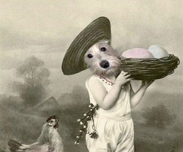 Chicky - Vintage Dog 5x7 Print - Anthropomorphic - Altered Photo - Easter - Whimsical Art - Photo Collage Art - Terrier