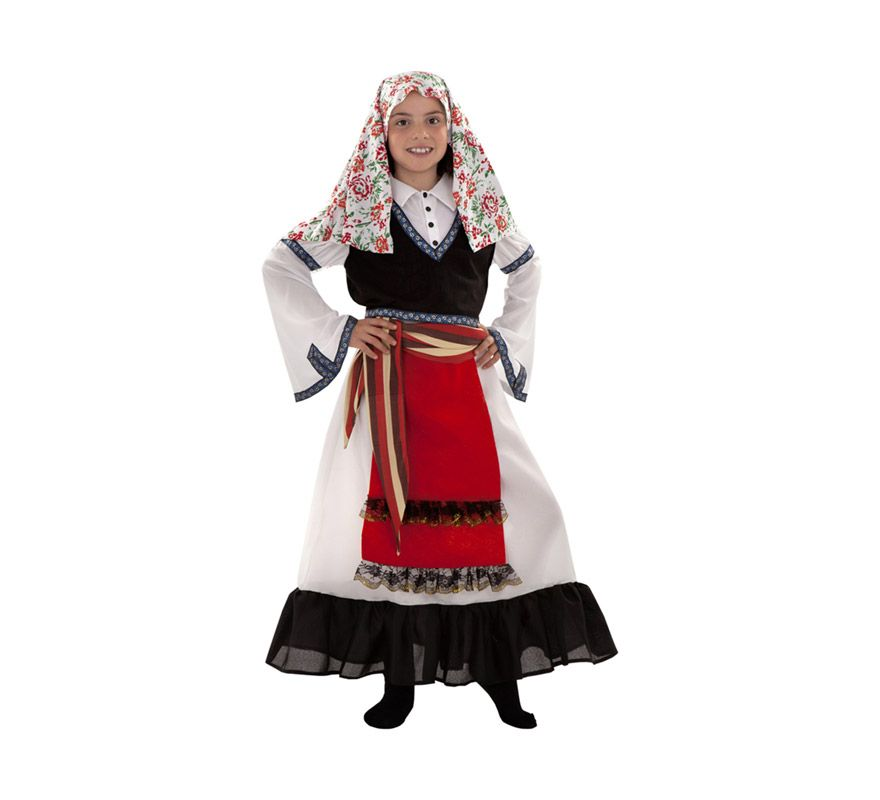 el disfraz de griega regional para nia incluye vestido chaleco fajn y pauelo
