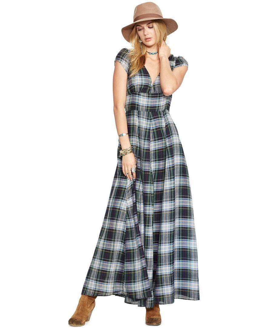 Plaid maxi dresses