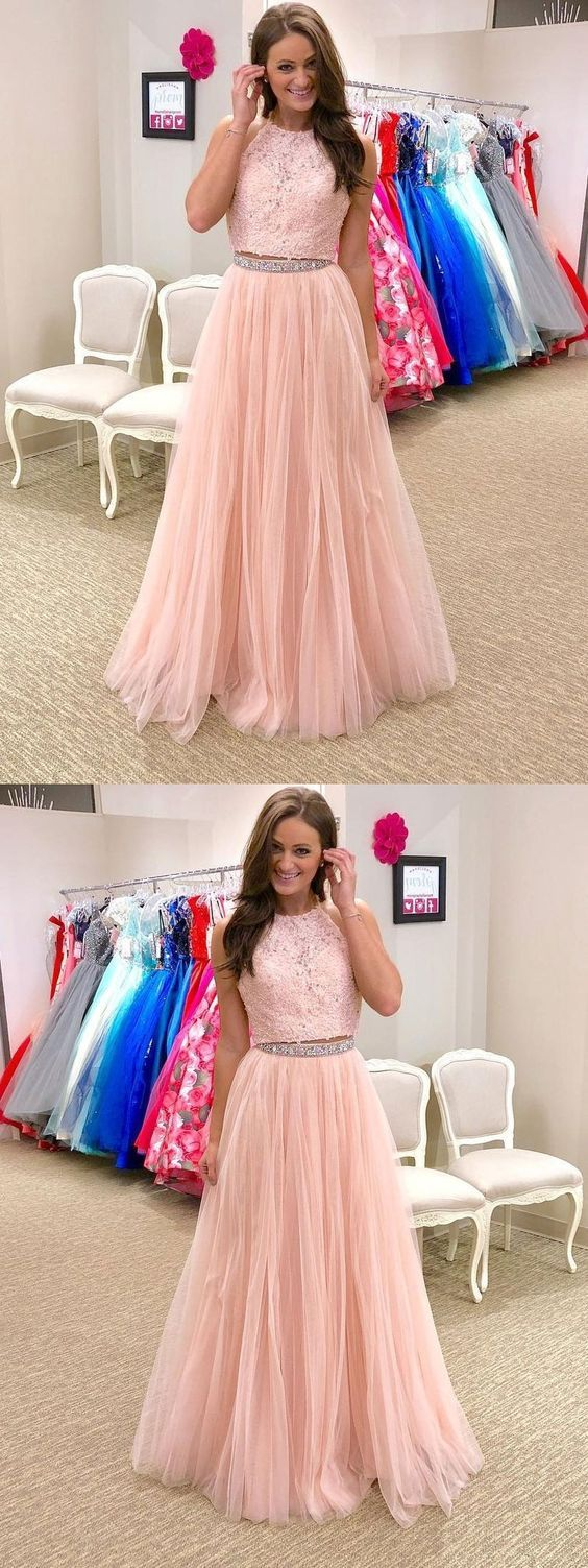 Two piece prom dresses halter a line floorlength pink long tulle