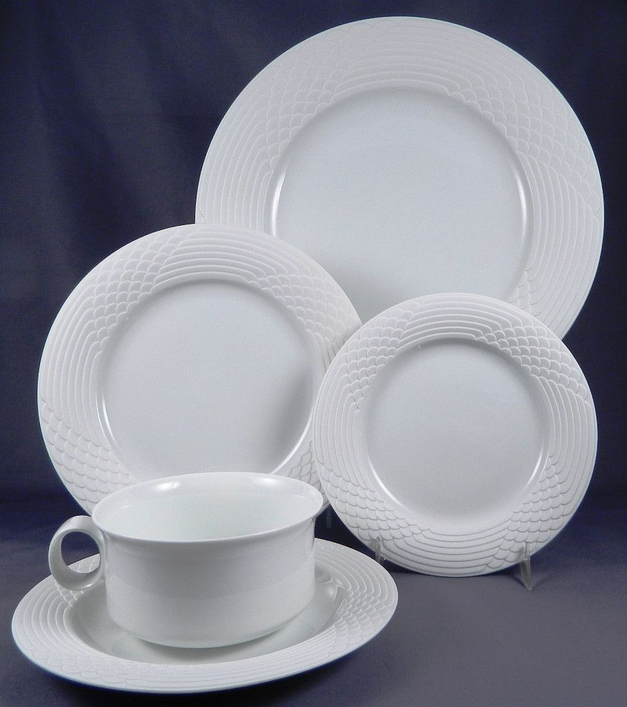 HUTSCHENREUTHER SETA Matte Finish Border Scala Shape 5 Pc Place Setting & HUTSCHENREUTHER SETA Matte Finish Border Scala Shape 5 Pc Place ...
