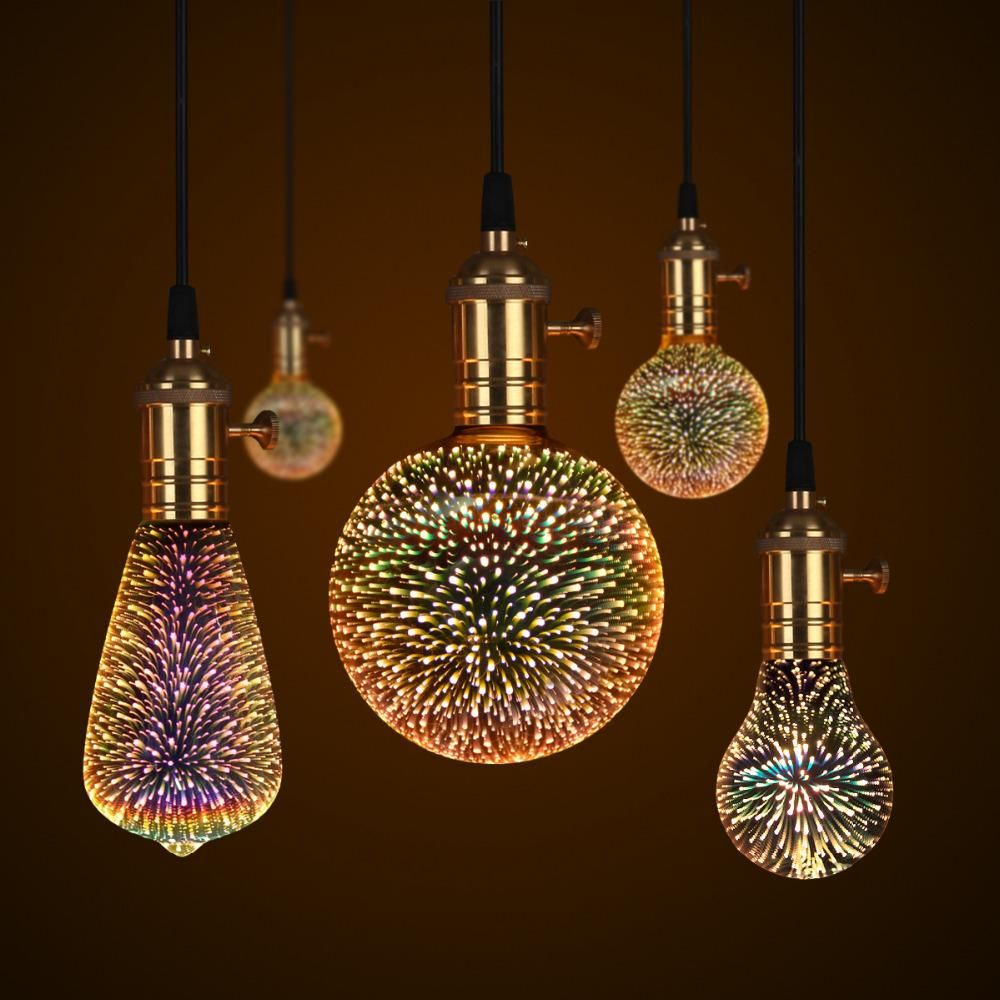 Decorative 3d Star Fireworks Effect Led Night Light Bulb Galaxy Lights Night Light Bulbs Glass Pendant Lamp