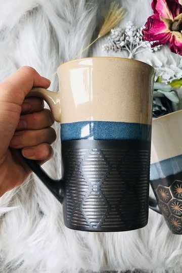This ceramic coffee mug, made from porcelain and glazed by hand, holds 17 ounces–making it a perfect choice for chilly winter mornings.