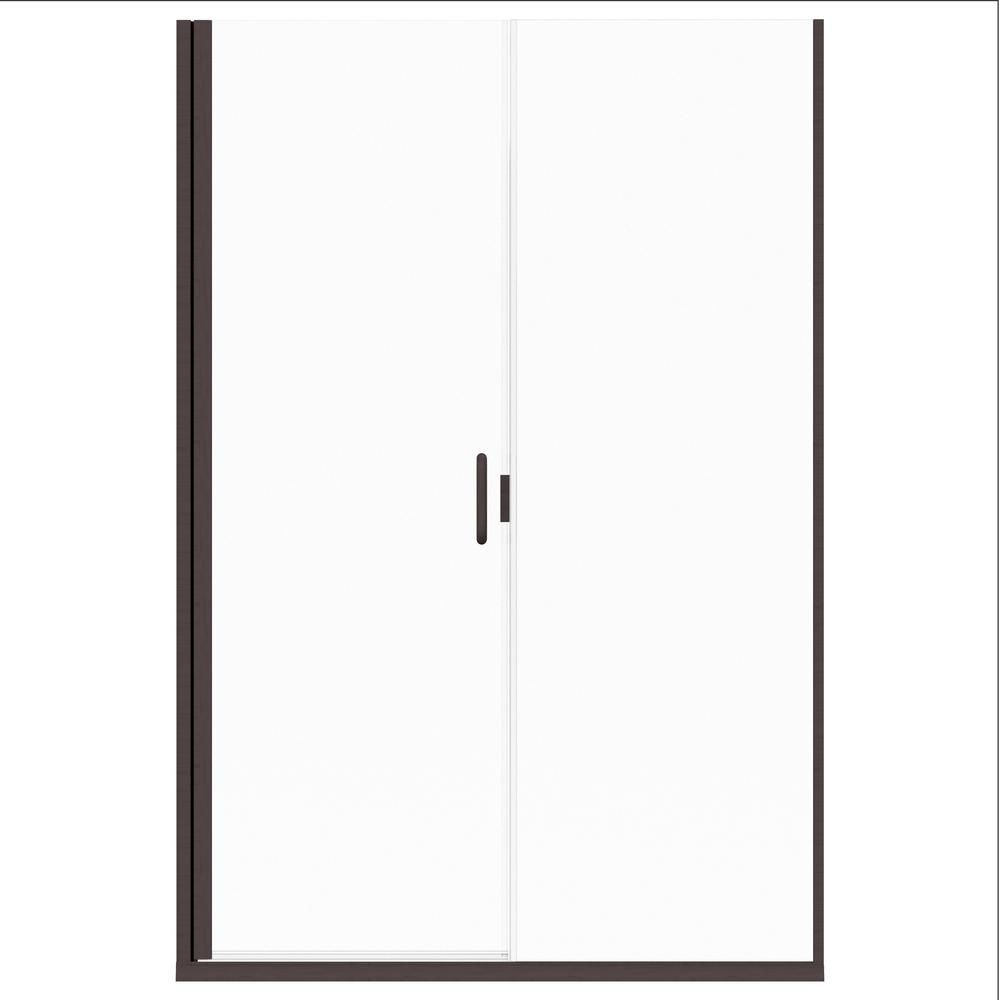 Holcam Distinctive Elite 45 In W X 71 375 In H Semi Frameless Hinged Shower Door And Inline Panel In Oil Rubbed Bronze Shower Doors Shower Enclosure Chrome Handles